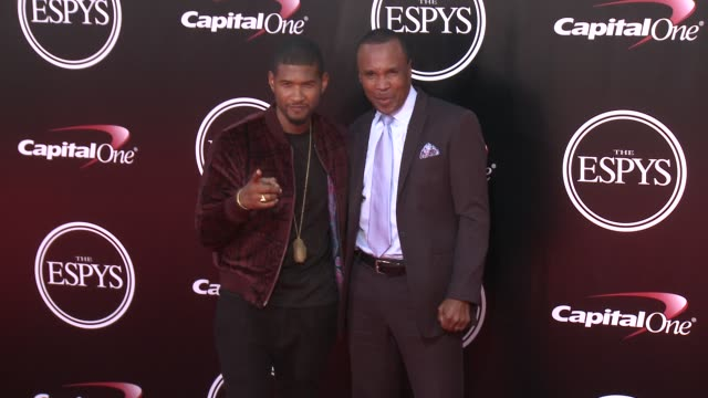 usher and sugar ray leonard at the 2016 espy awards at microsoft theater on july 13 2016 in los angeles california - microsoft theater los angeles stock videos and b-roll footage