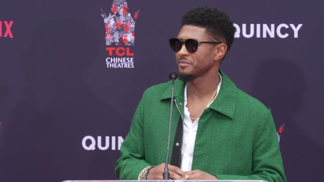 usher at quincy jones hand and footprint ceremony in los angeles, ca 11/27/18 - usher stock videos & royalty-free footage