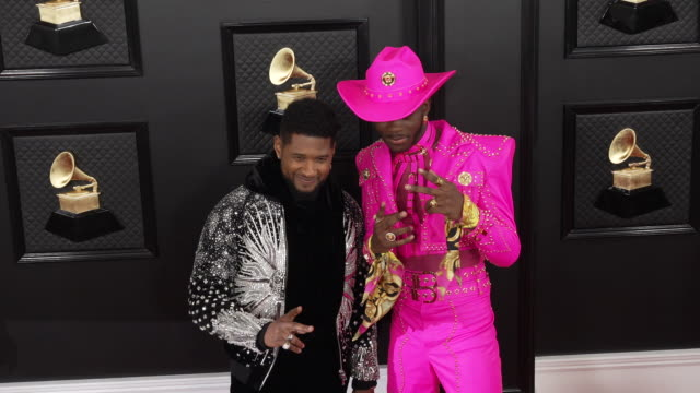 usher, lil nas x at staples center on january 26, 2020 in los angeles, california. - アッシャー点の映像素材/bロール
