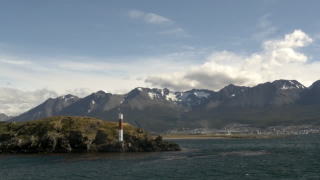Ushuaia city and Patagonian Andes from Beagle Channel