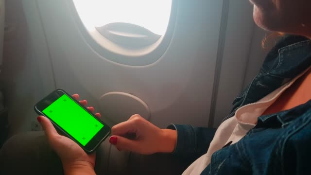 Using chroma key screen smart phone on airplane