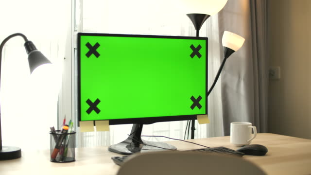 using computer laptop with green screen at home ,no people - web page stock videos & royalty-free footage