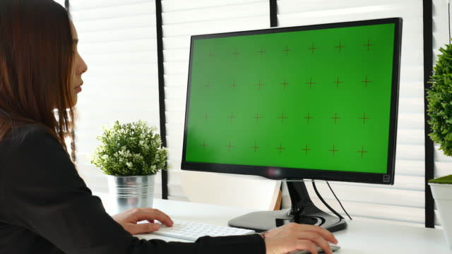using computer with chroma key - projection screen stock videos & royalty-free footage