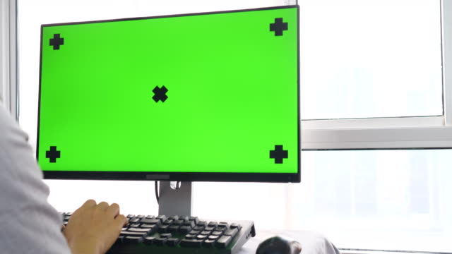 Using Desktop Computer,Green screen