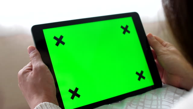 using digital tablet green screen at bed - zoom in stock videos & royalty-free footage