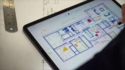 Using digital tablet to plan interior design