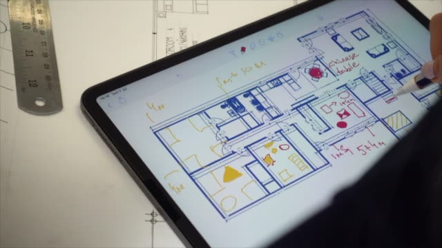 using digital tablet to plan interior design - color swatch stock videos & royalty-free footage