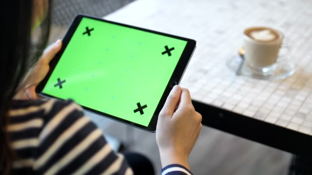 using digital tablet with green screen in cafe, horizontal - template stock videos and b-roll footage