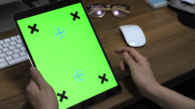 using digital tablet with green screen - differential focus stock videos & royalty-free footage