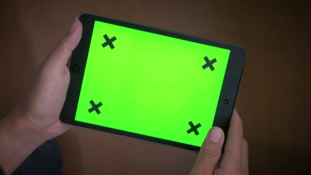 Using digital tablet,Green screen