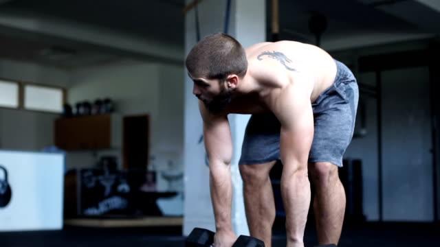 vídeos de stock, filmes e b-roll de usando halteres no ginásio - equipamento para exercícios