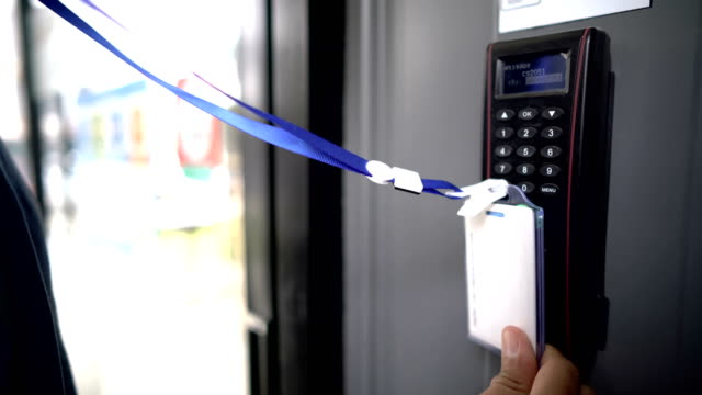 using key card access control to open office door - building entrance stock videos & royalty-free footage