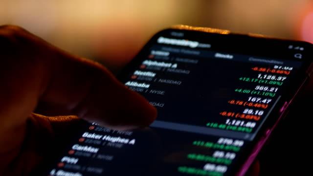 vídeos de stock, filmes e b-roll de usando o telefone para a noite de negócio na cidade - bolsa de valores e ações