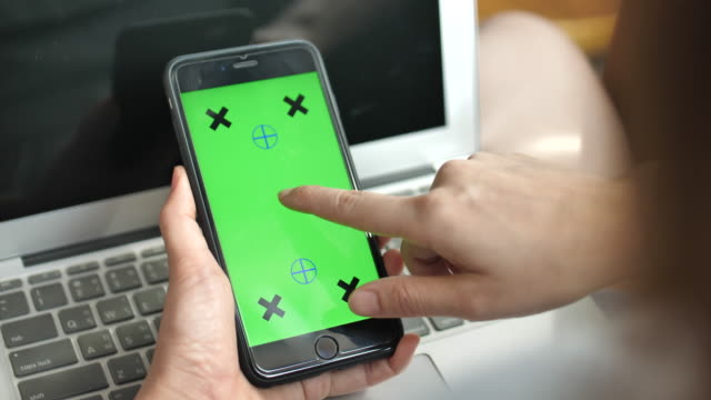 using smart phone, chroma key - pushing stock videos & royalty-free footage