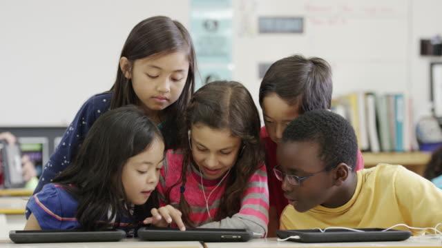 Utilizzando tablet e computer tecnologia in terza elementare scuola elementare