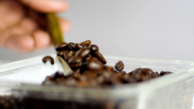 using wooden spoon checking quality of roasted coffee beans in slow motion - cafe macchiato stock videos and b-roll footage