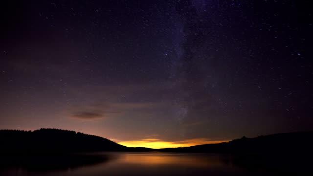 """Usk Reservoir at night, timelapse"""