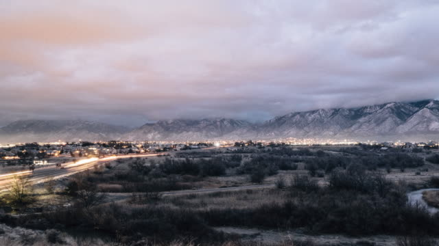 utah cloudy morning timelapse - salt lake city stock videos & royalty-free footage