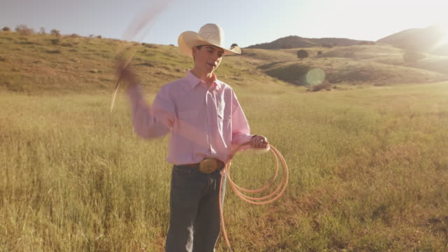 utah  cowboy with lasso - belt stock videos and b-roll footage