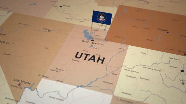 stockvideo's en b-roll-footage met utah map with state flag - utah