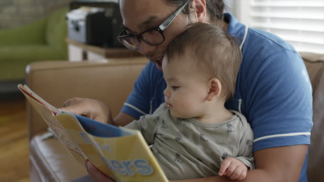 usa, utah, orem, father with son (6-11 months) reading book - 6 11 months stock videos & royalty-free footage