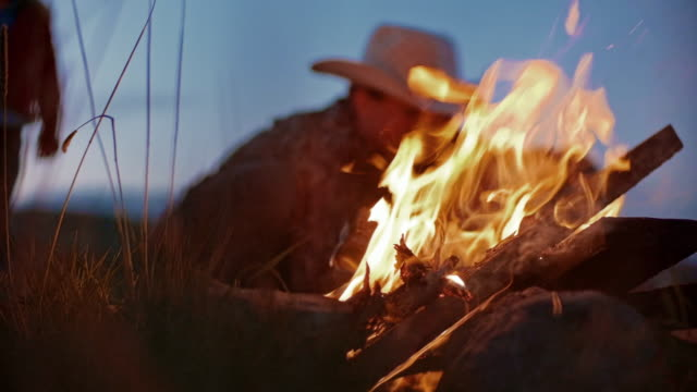 utah rancher family by the bonfire - rancher stock videos & royalty-free footage