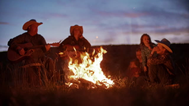 utah rancher family by the bonfire - camp fire stock videos & royalty-free footage