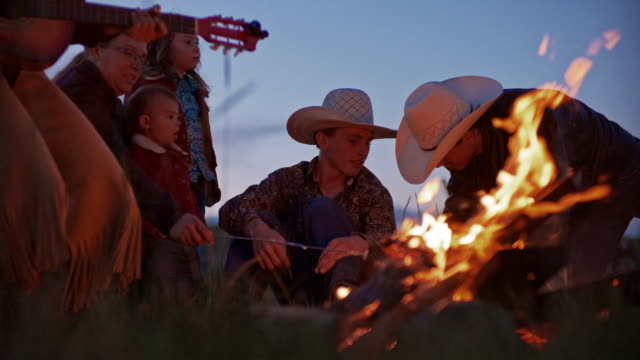 utah rancher family by the bonfire - ranch stock videos & royalty-free footage