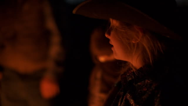 utah rancher family by the bonfire - cowgirl stock videos & royalty-free footage