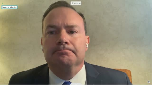 vídeos de stock, filmes e b-roll de utah senator mike lee asks twitter founder jack dorsey by videoconference at a senate commerce committee hearing on social media censorship to name... - political action committee