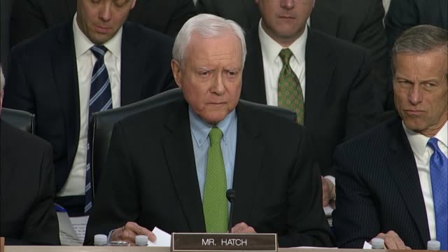 stockvideo's en b-roll-footage met utah senator orrin hatch asks facebook ceo mark zuckerberg at a joint hearing on data privacy what sorts of legislative changes would solve problems... - hatch