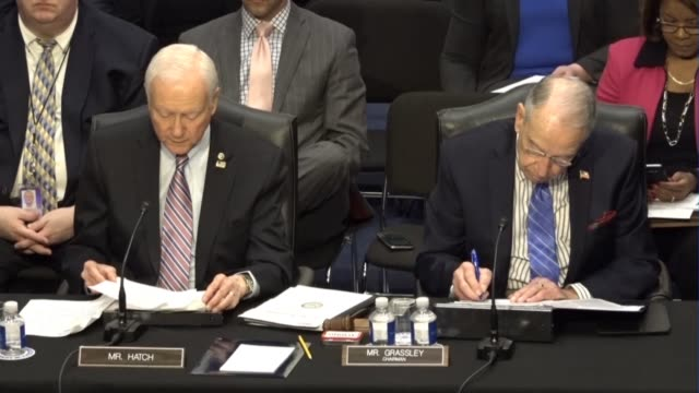 utah senator orrin hatch reads from a prepared statement at a meeting of the senate judiciary committee prior to a vote on sending the nomination of... - senate judiciary committee stock videos & royalty-free footage