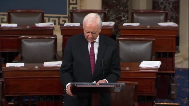 utah senator orrin hatch says supreme court nominee judge brett kavanaugh's critics ignore his own record on the matter in which he observed that the... - kritiker stock-videos und b-roll-filmmaterial
