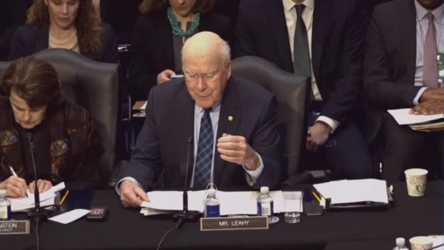 Utah Senator Patrick Leahy reads from a prepared statement at a meeting of the Senate Judiciary Committee prior to a vote on sending the nomination...