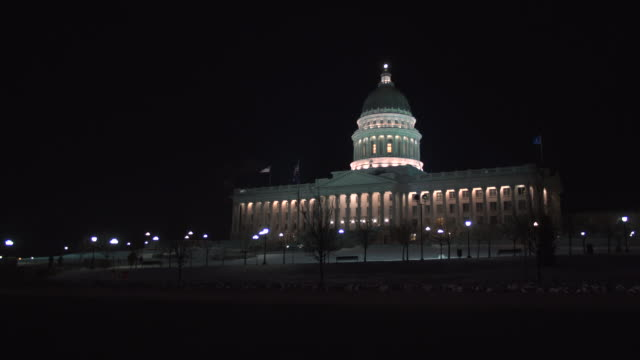 Utah State Capitol wide with road night