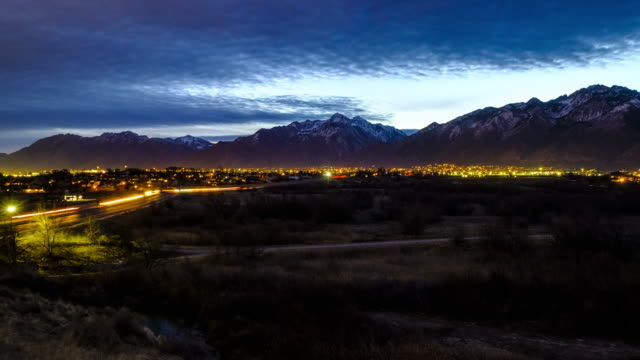 utah wasatch mountain morning timelapse - valley stock videos & royalty-free footage