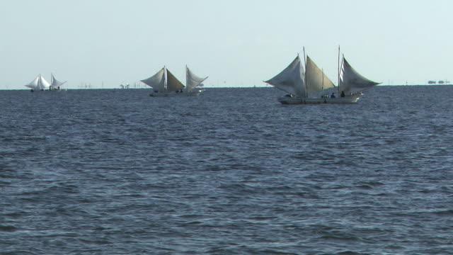 Utasebune, Fishing Sailboats, On The Sea, Hokkaido, Japan