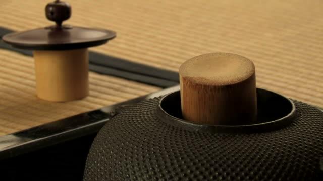 vídeos y material grabado en eventos de stock de utensils for tea ceremony  - sado