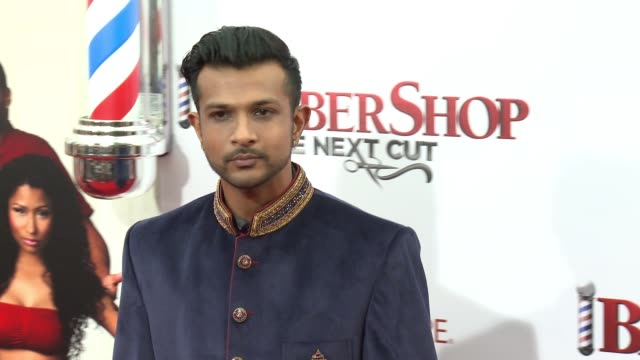 stockvideo's en b-roll-footage met utkarsh ambudkar at barbershop the next cut los angeles premiere at tcl chinese theatre on april 06 2016 in hollywood california - tcl chinese theatre