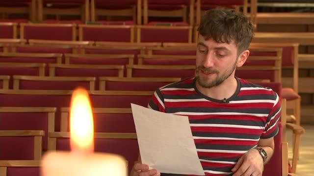uxbridge shopkeepers create new version of poem by john bedford leno england london uxbridge ext scott balcony reading out poem 'the bells of... - poet stock videos & royalty-free footage