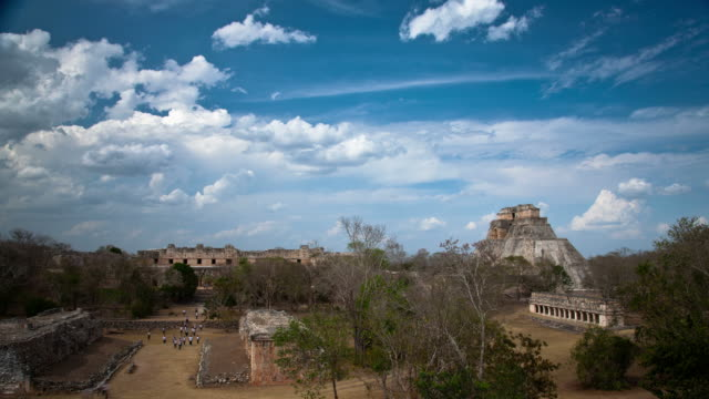 time lapse: uxmal maya ruins, mexico - puuc region stock videos and b-roll footage