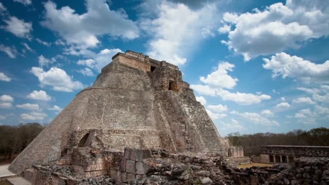 time lapse: uxmal maya ruins mexico - pyramid stock videos and b-roll footage