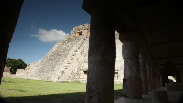 uxmal piramide del adivino - puuc region stock videos and b-roll footage