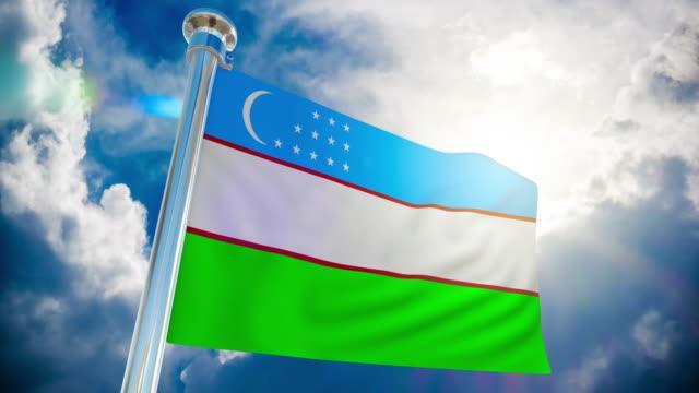 stockvideo's en b-roll-footage met 4k-vlag van oezbekistan   loop bare stock video - paalzitten