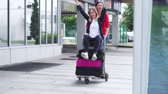 vacation, travel, happiness, friendship - luggage trolley stock videos & royalty-free footage