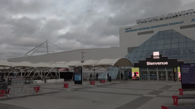 vaccination center opens at excel london convention center, in city of london, london, england, u.k., on monday, january 11, 2021. - facade stock videos & royalty-free footage
