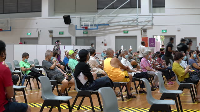 vaccination centre for seniors at senja-cashew community centre in singapore city, singapore, on monday, march 8, 2021. - singapore stock videos & royalty-free footage