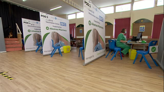 vaccination centre in modern converted church in derby - b roll stock videos & royalty-free footage