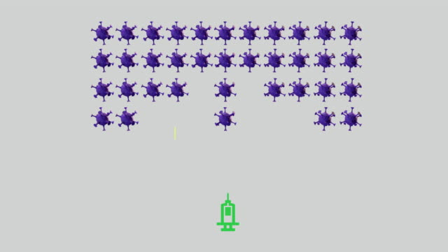 vaccine against covid-19 concept. syringe shooting virus in a space invaders arcade game style - computer icon stock videos & royalty-free footage