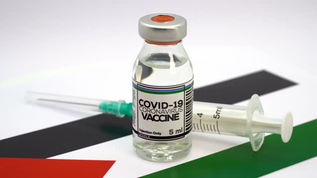 covid-19 vaccine and syringe with palestinian flag - palestina stock videos & royalty-free footage